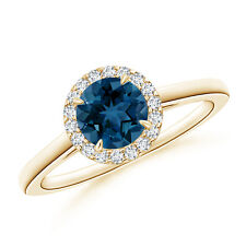 Round London Blue Topaz and Diamond Cathedral Halo Ring 14k Yellow Gold