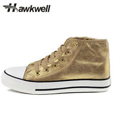 Hawkwell Kids Shining Casual Sneakers Fashion Girls Canvas Shoes Golden Zippers