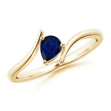 Pear Shaped Natural Blue Sapphire solitaire Ring 14K Yellow Gold Size 3-13