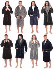 Mens Fleece Dressing Gown Robe Flannel Hooded Blue Grey Black robe PLUS SIZES