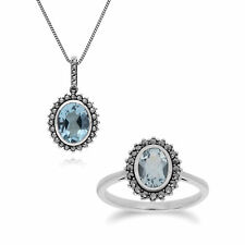 Sterling Silver Blue Topaz & Marcasite Oval Pendant with 45cm Chain & Ring Set