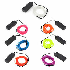 5M Colorful Flexible EL Wire Tube Rope Neon Light Glow Controller Party Decor Q#