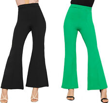 Womens Plain Flared Wide Leg Trousers New Ladies Pants Crepe Basic High Waisted