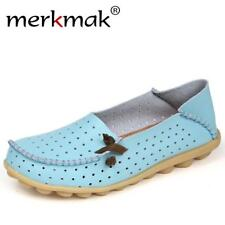 2017 New Woman Genuine Leather Shoes Lady Flats Slip on Loafers Women's Summer H