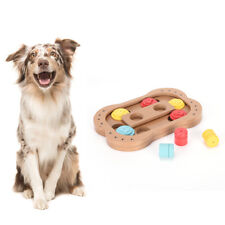 Wood Pet Cat Dog Food Bowl Paw Interactive IQ Training Toys FS Puzzle BH