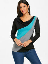 Ladies T Shirt Long Sleeve Top S M L XL 2XL Color Block Cowl Neck Shirt Blouse
