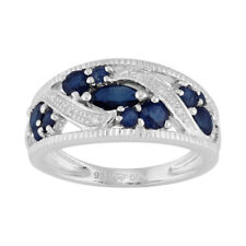 Sterling Silver 1.27ct Natural Blue Sapphire & Diamond Classic Dress Ring
