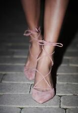 Free People Andra Kitten Heel Pump Lace Up Blush Suede Leather Pump Shoe