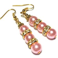 Pink Dangle Pearl Earrings Gold Pierced or non-pierced Clips or Studs UK MADE