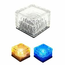 LED Solar Color Changing Glass Ice Cube Rocks Brick Outdoor Garden Path Light FY