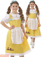 Girls Goldilocks Costume Child Three Bears Fairytale Fancy Dress Book Day Outfit