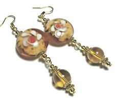 Long Amber Glass Bead Earrings Gold Pierced or non-pierced Clips or Stud UK MADE