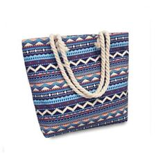 Women Canvas bohemian style striped Shoulder Beach Bag Female Casual tote bag