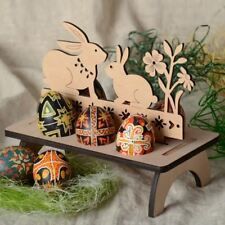 Wooden Creative Easter Egg Shelves Egg Stand Carry Hold Eggs Rack Bunny Hen Happ