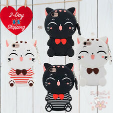 iPhone 6 6S Case Cute 3D Cartoon Cat Lucky Fortune Cat Kitty Soft Rubber Case