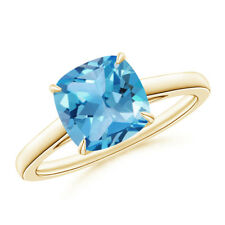 2.5 ct Solitaire Cushion Cut Swiss Blue Topaz Cocktail Ring 14K Yellow Gold