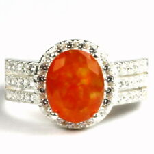 Created Mexican Fire Opal, 925 Sterling Silver Halo Ring, SR400-Handmade