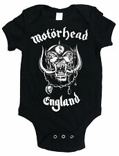 Motorhead England Baby Grow Official Babies Outfit Black Romper Suit 3-24 Months