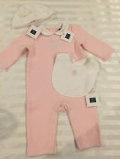 NWT Janie and Jack baby girl layette pink quilted logo romper bib hat SET 3 6 9