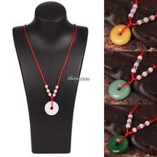 Women Artificial Jade Round Pendant Red Rope Necklace Fashion Jewelry BF9