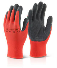 10 Pairs B-Click MP4 Multi Purpose Poly Knitted Black / Red Latex Work Gloves