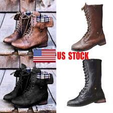 US Womens Cute Mid Calf Zipper Low Heel Boots Combat Military Lace Up Shoes Size