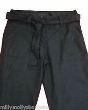 New Womens Black Linen NEXT Crop Trousers Size 10 8 6 Tall Petite