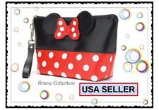 MAKEUP POUCH MINNIE MOUSE Polka Dot COSMETIC BAG WRIST PURSE MICKEY Wallet Purse