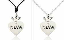 Diva Princess Heart Silver Pewter Charm Necklace Pendant Jewelry