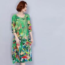 Women Floral Printed 3/4 Sleeves O-Neck Green Color Knee-Length Dress