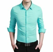 Men Green Color Cotton Fabric Casual Wear Long Sleeve Slim Fit Shirt