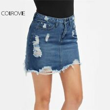 Distressed Pencil Skirt Blue Denim Women Casual Mini Summer Skirts 2017 Fashion
