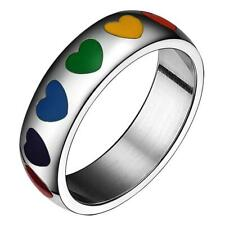 8mm Rainbow Resin Heart LGBT Lesbian Gay Pride Ring Charming Stainless Steel