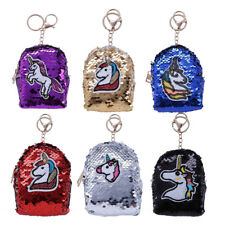 Reversible Glitter Sequin Unicorn Coin Purse Mini Wallet Pouch Case&Key Chain