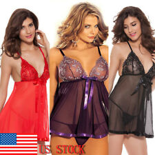 Womens Sexy Lace Dresses See Through Lingerie Babydoll Nightgown Dress Nightwear