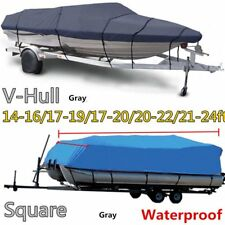 17-20Ft 600D Heavy Duty Waterproof Trailable Fish Ski Boat Cover V-Hull Beam MT