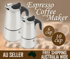 6/10 CUP Espresso Coffee Maker Moka Latte Percolator Stovetop Stainless Pot