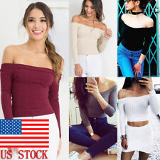 Women's Ribbed Knit Crop Tops Long Sleeve Off Shoulder Pullover Blouse Sweater