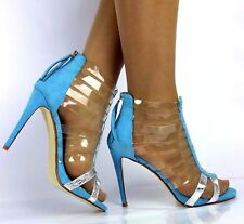 WOMENS LADIES BLUE HIGH HEEL PARTY  STRAPPY PEEP TOE SHOES ZIP UP SANDALS SIZE