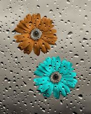 Teal Brown Daisy Flowers Modern Bathroom Wall Art Home Decor Matted Picture