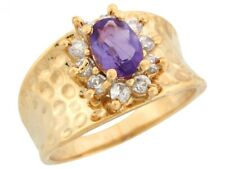 10k or 14k Real Gold Simulated Amethyst White CZ Hammered Wide Band Ladies Ring