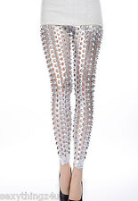 Latest Style-SILVER METAL POPPED LOOK LEGGINGS Choose From Sizes 8 & 10