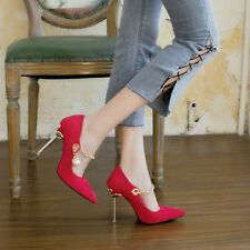 Metal Chain Pearl Suede Stilettos Ponit Toe Shallow High Heels Women Pumps Shoes
