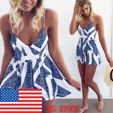 Womens Sexy V Neck Boho Spaghetti Strap Beach Backless Romper Shorts Jumpsuit US
