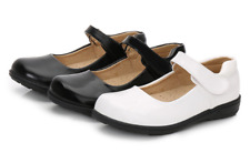 GIRLS KIDS CHILDREN FLAT PATENT LEATHER STRAP SCHOOL PUMPS SHOES SIZE 9.5-6.5