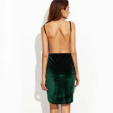 Womens Bodycon Night Club Dark Green Backless Ruched Velvet Wrap Cami Dress