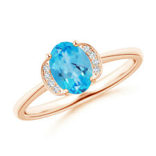 Solitaire Oval Swiss Blue Topaz and Diamond Collar Ring 14K Rose Gold/ Platinum