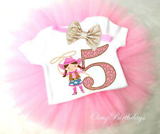 Cowgirl Pink Cow Lasso 5th Fifth Girl Tutu Headband Shirt Outfit Custom Age SZ