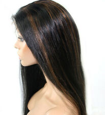 "100% Indian Remy Human Hair 8""-24"" full/front lace wig Yaki Straight 1b/30#"