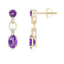 Round and Oval Amethyst Dangle Earrings with Diamond Accents 14K Yellow Gold